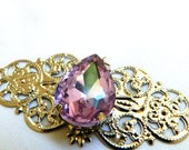 Wisteria Purple Filigree Elven crystal Pendant (1 Pieces)(FP05) elven findings for fantasy jewelry,weddings circlets,larp crown,cosplay