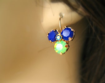 Blue and green opal earrings Pansy flower Earrings Rose Gold plated leverback Swarovski crystal Pansy Earrings