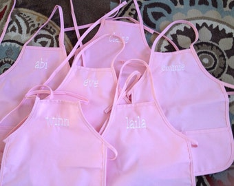 Set of 5 PARTY FAVORS Personalized Children's sized Apron Custom Embroidered