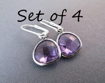 Set of 4 Bridesmaid Earrings, Dangle Earrings, Bridesmaid Gift, Bridal Party Jewelry, Drop Earrings, Birthstone Earrings, You Choose Color