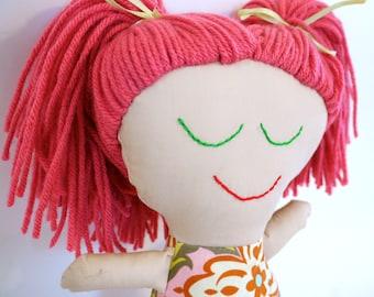 Handmade Rag Doll.  Fun pink hair.  OOAK
