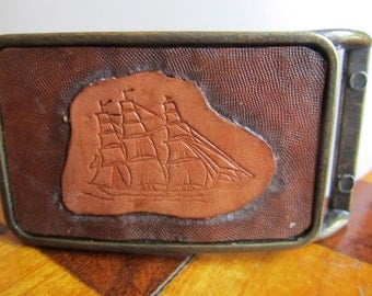 Vintage Hand Tooled Leather on Brass Sail Boat Belt Buckle