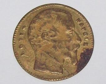 Napoleon III Play Money 1860s Brass Coin French European