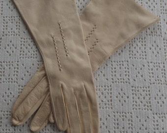 Vintage Gloves Beige Leather Size 6