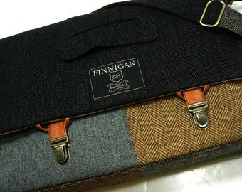 Messenger Bag, Macbook 15 inch Messenger Bag Macbook Pro 15 , Laptop Sleeve,  Navy Gray Gold Wool, wool Recycled Suit Coat