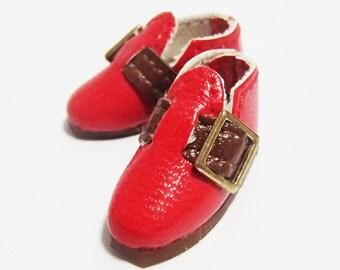 Red Casual Buckle Shoes for BJD Dolls Lati Yellow, PukiFee, Riley Kish, Bobobie Nissa, DIM Silf, Dollk S00068F