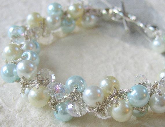 SOFT SKY Robin Egg BLUE, Bridal, Bridesmaid Cottage Chic Pearl Crystal Wedding Bangle Bracelet, Hand Knit Spiral Twist, White, Ivory