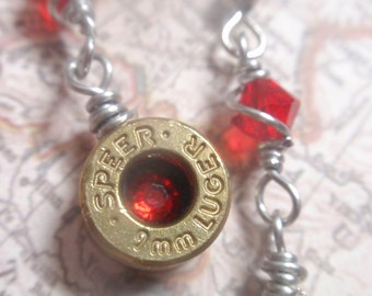 Up-cycled Bullet dangle earrings... Premium 9mm Bullet jewelery Red crystal Dangle Earrings