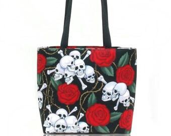 US Handmade Handbag Shoulder Bag With, Cute Skulls Red Roses Pattern Alexander Henry Cotton Fabric, New, Rare