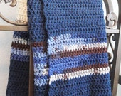 Hand Crocheted Afghan Cowboy Blanket Couch Throw Blue Cream Chocolate Brown 36 x42 - by Distinctly Daisy