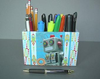Pencil Cup With Retro Tin Robot, Desk Accessories, Dorm Decor