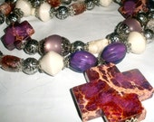 christian COWGIRL stone cross necklace purple white and silver