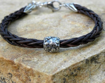 Artisan Sterling Silver Braided Dark Chocolate Leather Bracelet Flower Heart Charm