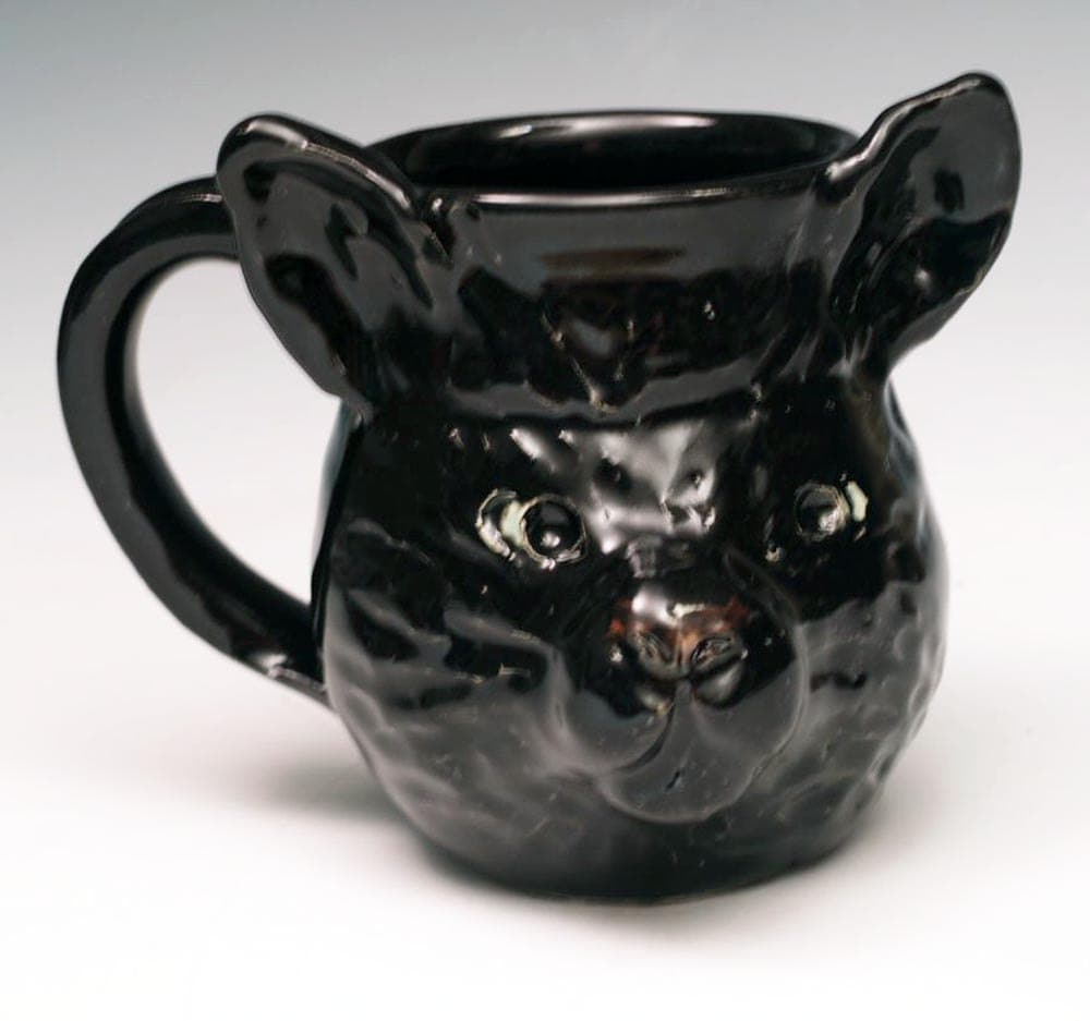 black cat sculpted animal face mug