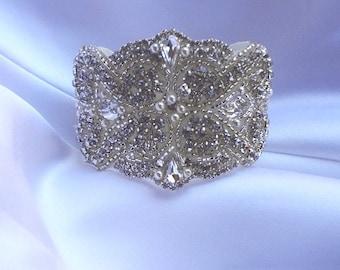 Bridal Bracelet, Bridal Cuff Bracelet, Bridal Beaded Bracelet, Bridal Crystal Bracelet, Bridal Jewelry