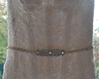 Wedding Bridal Gown Dress Crystal Embellishment Trim Sash Belt Vintage Inspired
