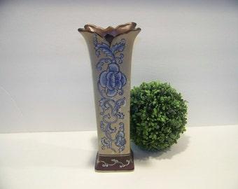 Vintage Formalities Vase by Baum Brothers Tan Brown and Blue