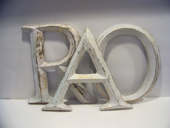 Large Distressed Wall Decor : Large distressed letters wall decor shabby cottage chic