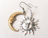 Mismatched Earrings,  Sun and Moon Earrings, Drop Earrings, Silver Sun, Antique Gold Moon, Choice of Ear Wires
