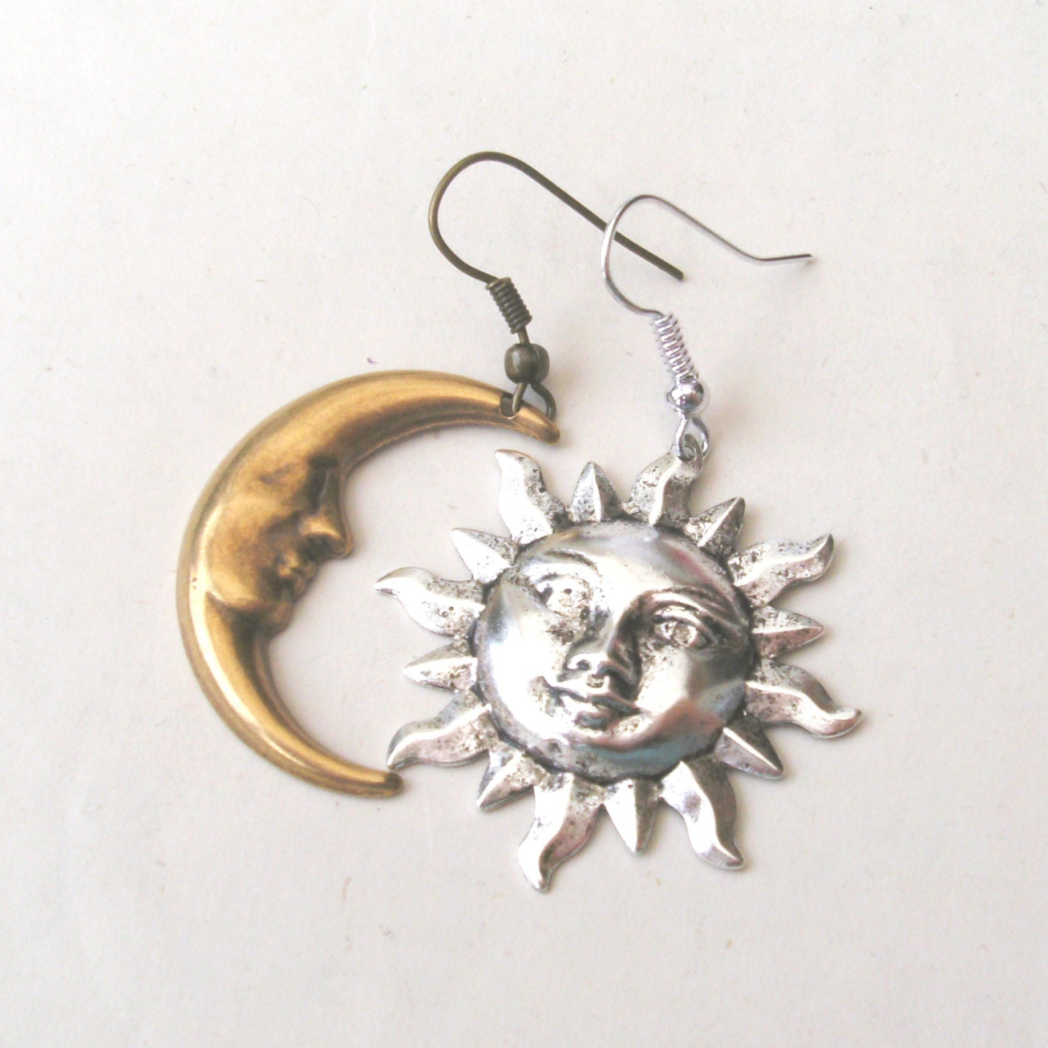 mismatched earrings sun and moon earrings drop earrings