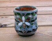 Earthy Natural Shell Flower and Handcut Glass Mosaic Candle Holder, Sealed Metaphysical Functional Art