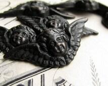 Angel face ornamant, antiqued brass (4 winged cherubs) 18mm dark angel, headstone design, tombstone angel, Victorian Mourning, black angel