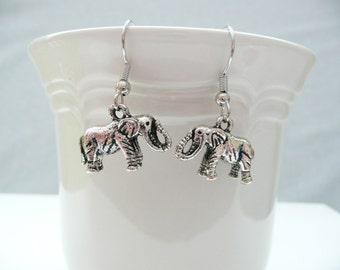 nd-3D Silver Elephant Dangle Earrings