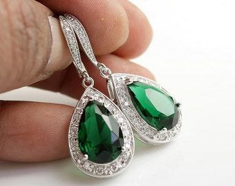 Wedding Green Earrings Bridal Jewelry Green Bridal Earrings Emerald Green Cubic Zirconia Pear Drop Green Earrings Wedding Jewelry, Esmeralda