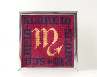 vintage zodiac scorpio cross stitch wall hanging picture framed red peach blue crossstitch artwork astrology astrological sign retro modern