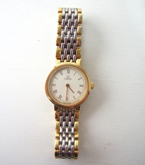 vintage omega wrist watch lady deville womens ladies 18k gold