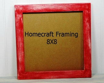 8 X 8 Picture Frame Distressed Red White Rustic Country Primitive Wooden Frame