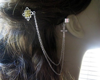 Bobby Pin Ear Cuff,  Ear Cuff, Bobby Pin, Ear Cuff Hair Comb, Celtic Ear Cuff, Cross Ear Cuff, Chain Ear Cuff