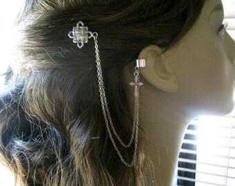 Bobby Pin Ear Cuff,  Ear Cuff, Bobby Pin, Ear Cuff Hair Comb, Celtic Knot, Cross Ear Cuff, Chain Ear Cuff