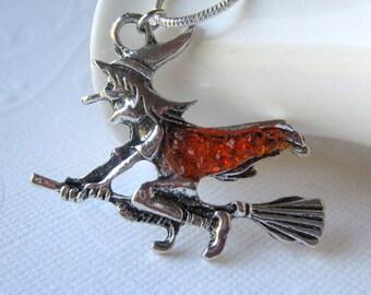 Witch Necklace, Halloween Jewelry, Orange Necklace, Witch on Broomstick, Witch Charm, Halloween Witch