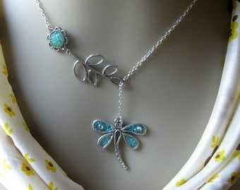 Dragonfly Lariat Necklace, Bridesmaids Necklace, Twig Lariat Necklace, Lariat Jewelry, Blue Dragonfly, Dragonfly Jewelry