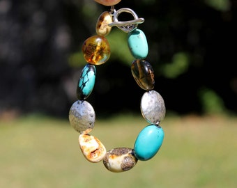 Rough Stone Boho Bracelet Fall Fashion Jewelry White  Amber Turquoise Teal Blue Orange Chunky Natural Gemstone Toggle Silver OOAK