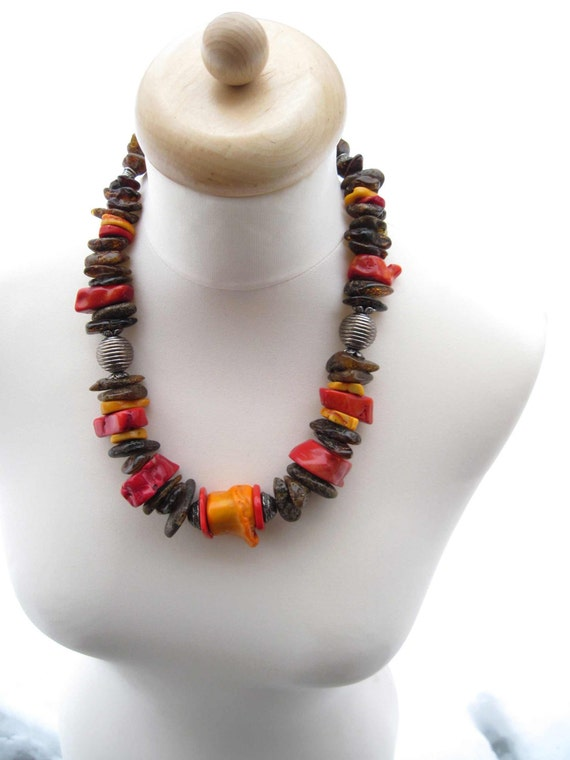 Huge Red Coral Unpolished Raw Dark Baltic Amber Necklace Natural Orange Earty Colors Statement Extra Large