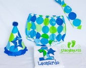 Personalized Cake Smash Outfit Shirt - Party Hat - Diaper Cover - Necktie for Baby Boy First Birthday by StacyBayless