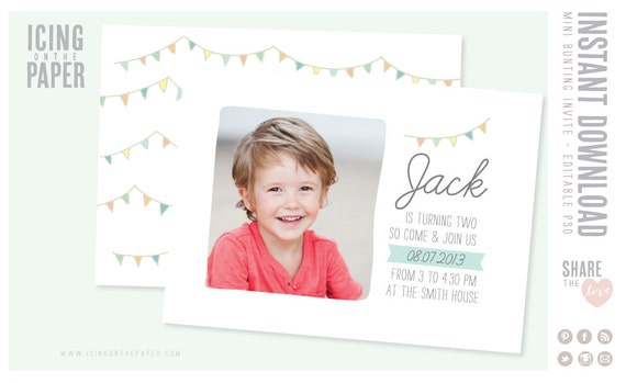 Mini Bunting Birthday Party Invitations - PSD Template