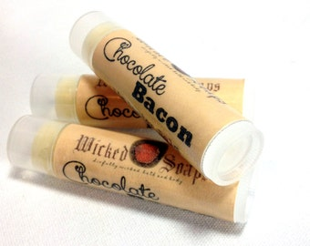 Chocolate Bacon Lip Balm . Cocoa Butter Beeswax Lip Balm Tube by WickedSoaps