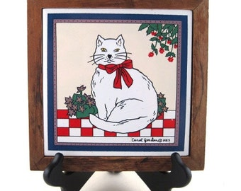 vintage tile trivet - cat tile trivet