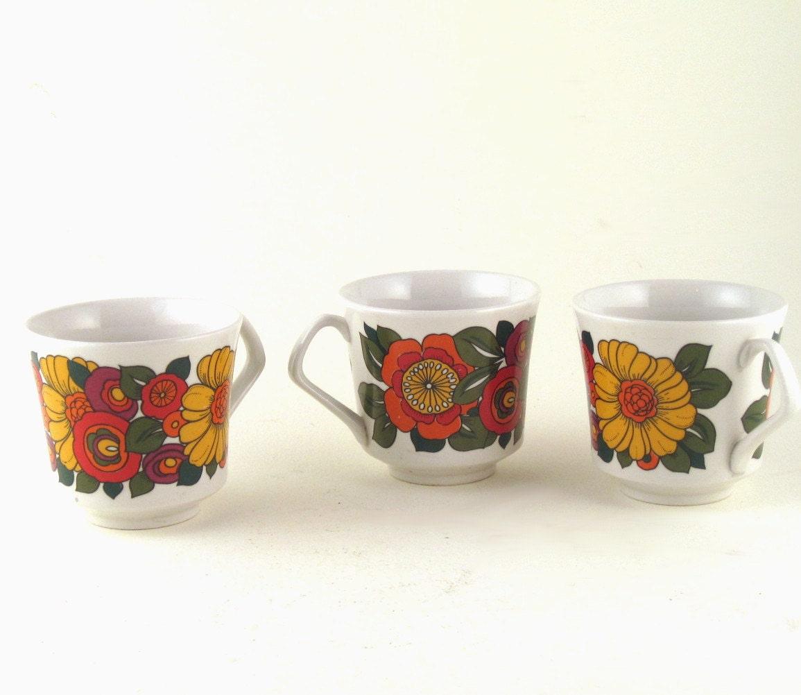 Vintage 1970's Italian floral espresso cups set of 6