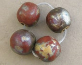 Raku Ceramic Beads - Quartet of Satin Metallic Round Beads