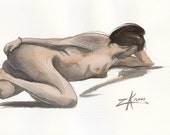 Female Nude in Repose - 7.5 x 10 Watercolor Painting