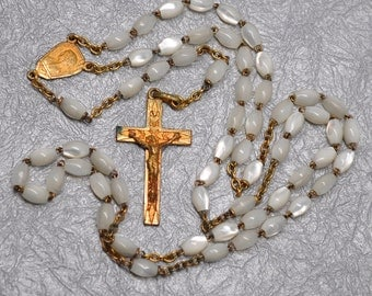 Antique Mother of Pearl and 24 kt Gold Plated Rosary