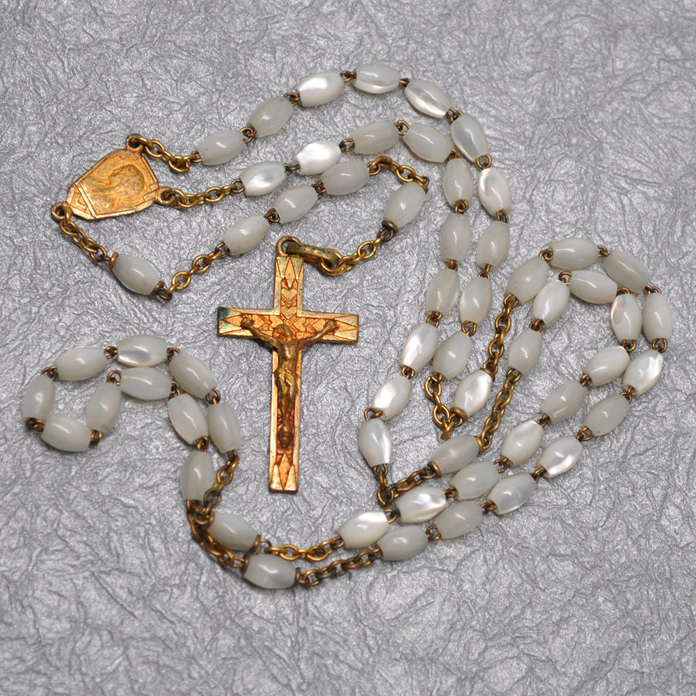 Gold Plated Silver Antique Beads: Antique Mother Of Pearl And 24 Kt Gold Plated Rosary