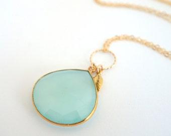 Long Pendant Necklace, Aqua Chalcedony Pendant Necklace, Long Charm Necklace, Long Gold Necklace, Long Leaf Necklace, Long Stone Necklace