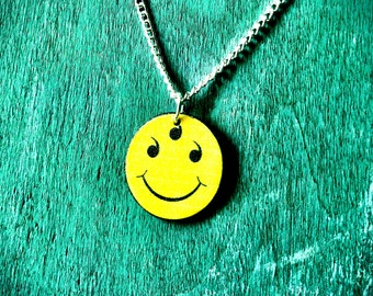 Yellow Smiley Face Have a nice day 666 Satanic charm necklace with silver plated chain inverted cross necklace