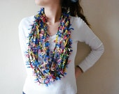 Multi colored, fuzzy multi strands Crochet Infinity Scarf, Women Fashion Scarves