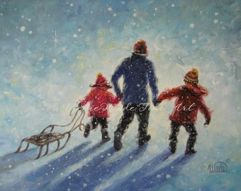 Sledding ORIGINAL Painting 12X16 dad, father son daughter boy and girl sledding, snow kids children paintings, wall art, Vickie Wade